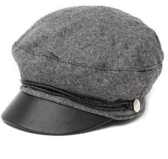 Vince Camuto Faux Leather Herringbone Military Cap