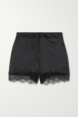 CAMI NYC The Liliana Lace-trimmed Silk-charmeuse Shorts - Black
