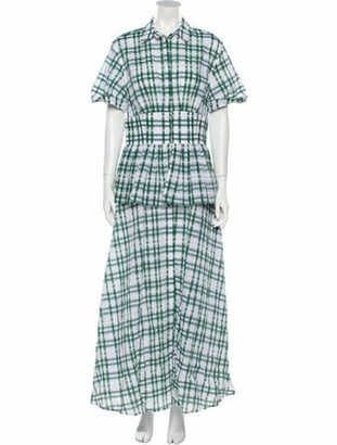 Rosie Assoulin Plaid Print Long Dress Green