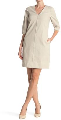 Elie Tahari Norah V-Neck Pocket Shift Dress