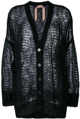 No.21 oversize open-knit feather cardigan