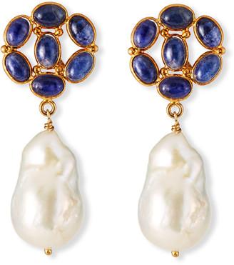Dina Mackney Sapphire-Post Pearl-Drop Earrings