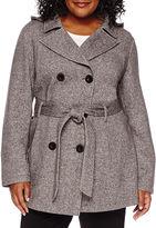 Liz Claiborne Belted Fleece Trench Pea Coat - Plus