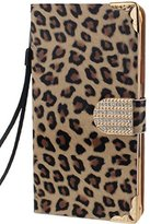 Datework Note 4 case,Diamond Leopard Leather Flip Wallet Case For Samsung Galaxy Note 4 (Gold)