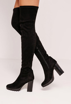 Missguided Black Faux Suede Cleated Over The Knee Heeled Boots