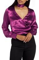 Missguided Women's Choker Collar Faux Wrap Blouse