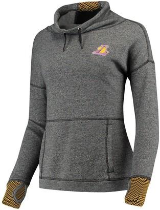 Antigua Women's Heathered Black Los Angeles Lakers Snap Cowl Neck Pullover Sweatshirt