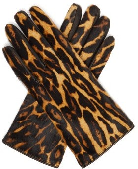 Burberry Leopard-print And Check Calf-hair Gloves - Womens - Leopard