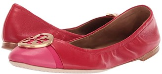 Tory Burch Minnie Cap-Toe Ballet (Brilliant Red/Bright Azalea) Women's Shoes