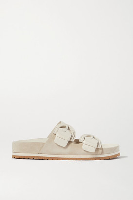 Vince Glyn Leather And Suede Slides - White