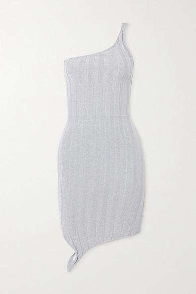 IOANNES Serpent One-shoulder Metallic Ribbed-knit Mini Dress - Silver