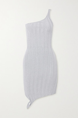 IOANNES Serpent One-shoulder Metallic Ribbed-knit Mini Dress