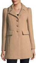 Kate Spade Wool-Twill A-Line Coat W/ Faux-Fur Collar