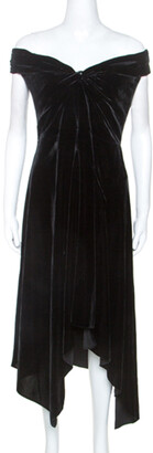 Peter Pilotto Black Velvet Off-Shoulder Cocktail Dress L