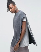Asos Super Oversized Cape T-Shirt With Acid Wash And Seam Detail