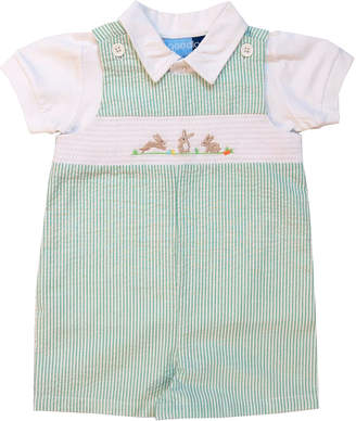 Good Lad Boys' Short Overalls GREEN - Green Bunny Seersucker Smocked Playsuit & White Top - Infant
