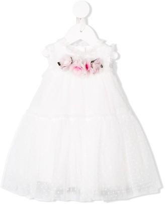 MonnaLisa flower appliqués tulle dress