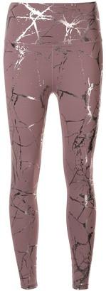 Beyond Yoga Metallic Marble-Print Leggings