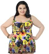 Deercon Plus size Women's Flower One Piece SwimDress swimwear(blue)