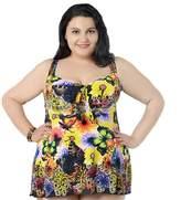 Deercon Plus size Women's Flower One Piece SwimDress swimwear