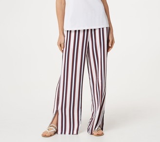 BROOKE SHIELDS Timeless Petite Wide-Leg Pull-On Pants with Side Slits