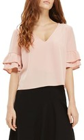 Topshop Women's Tie Back Ruffle Sleeve Top