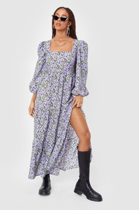 Nasty Gal Womens Leaf Me Out of It Floral Maxi Dress - Black - 4