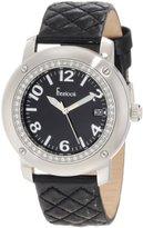 Freelook Women's HA1812-1 Black Leather Band Matt Black Dial Silver Case Watch
