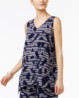 Alfani Printed V-Neck Tunic Top, Created for Macy's