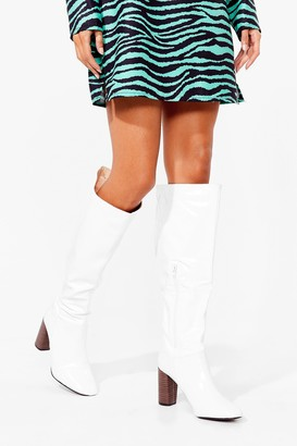 Nasty Gal Womens Shoe Goes There Faux Leather Knee-High Boots - White - 7