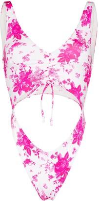 Frankie's Bikinis Emma floral print cut-out swimsuit