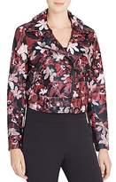 Catherine Malandrino Veruca Floral Print Faux Leather Moto Jacket