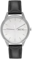 Uniform Wares Silver & Black Leather C40 Calendar Watch