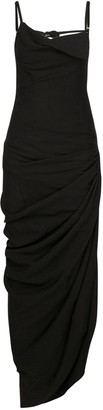 Jacquemus Draped Viscose Blend Long Dress W/Slit