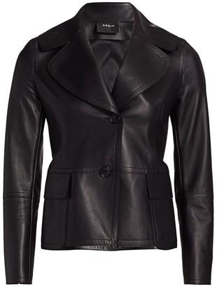 Akris Dessa Leather Wide-Lapel Jacket