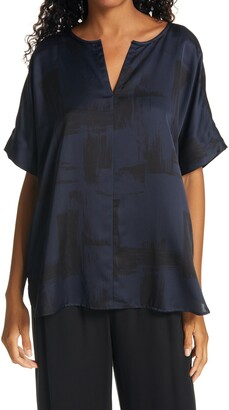 Eileen Fisher Split Neck Silk & Organic Cotton Boxy Top