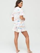 Very Frill Button Through Short Pyjamas - Cloud Print