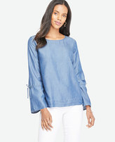 Ann Taylor Petite Chambray Tie Sleeve Top
