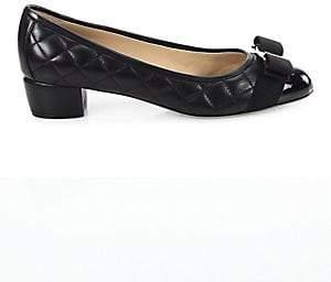 Salvatore Ferragamo Women's Vara Quilted Leather Block Heel Pumps