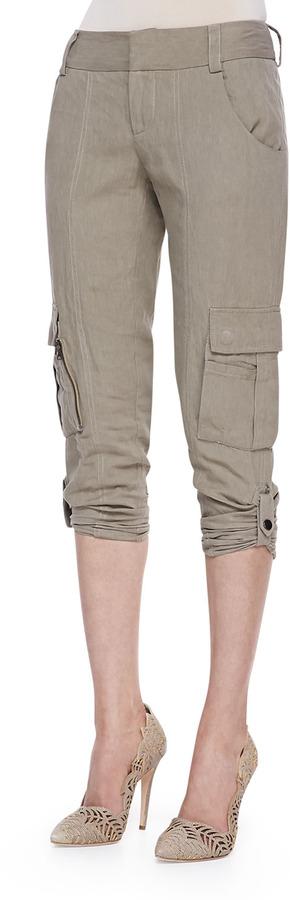 Alice + Olivia Narrow Tab-Cuff Cargo Pants