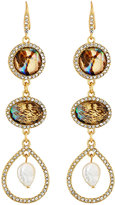 Lydell NYC Simulated Abalone Triple-Drop Earrings
