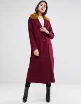 Asos Trapeze Coat in Wool Blend with Fur Collar