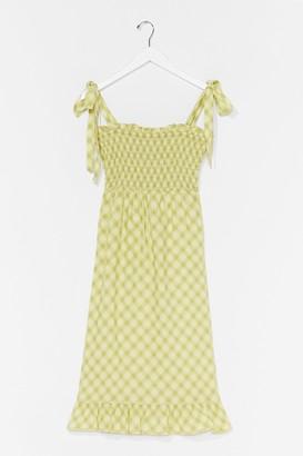 Nasty Gal Womens Check Back Later Shirred Midi Dress - Green