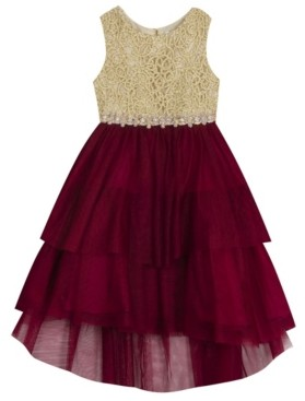 Rare Editions Little Girl Embroidered Bodice To Tiered Mesh Skirt