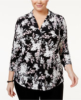 Charter Club Plus Size Floral-Print Top, Only at Macy's