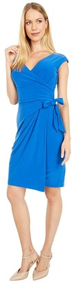 Lauren Ralph Lauren Saida Cap Sleeve Day Dress (Potruguese Blue) Women's Dress