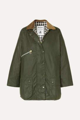 Barbour + Alexachung Edith Corduroy-trimmed Waxed-cotton Jacket - Dark green