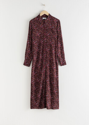 And other stories Micro Floral Midi Shirt Dress