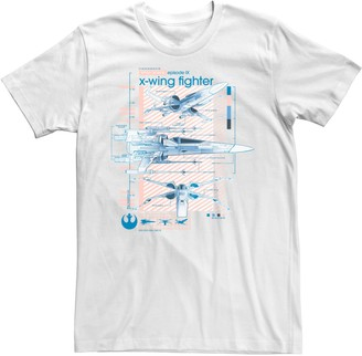 Star Wars Unbranded Men's The Rise of Skywalker X-Wing Details Graphic Tee