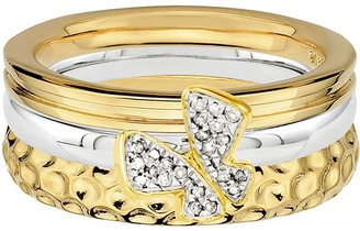 Simply Stacks Sterling Two-Tone Butterfly RingSet